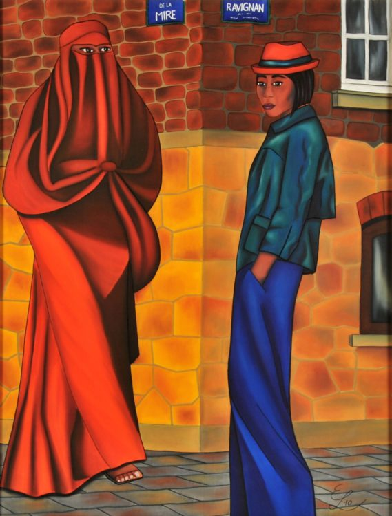 """Natürlich ist sie meine Freundin - warum auch nicht?"""" Seidenmalerei gerahmt- Original. 112 x 92 cm. Preis auf Anfrage"""