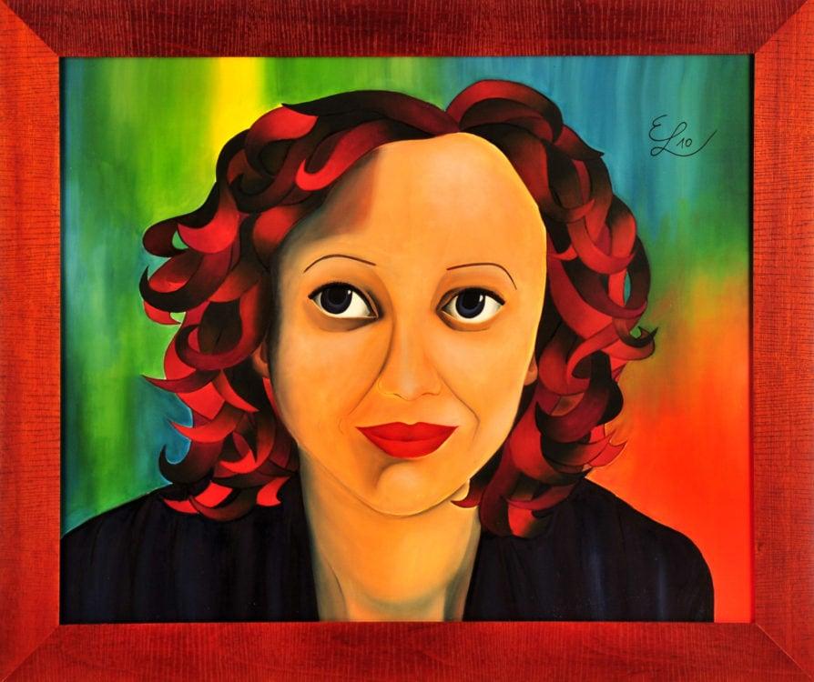 "Projekt #MonParis. Seidenmalerei. ""Edith Piaf"". 90 x 90 cm gerahmt.."