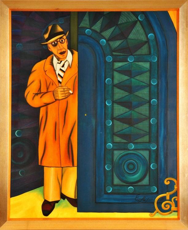 """Projekt #MonParis. Seidenmalerei. """"Henry Miller"""". 88 x 108 cm gerahmt."""