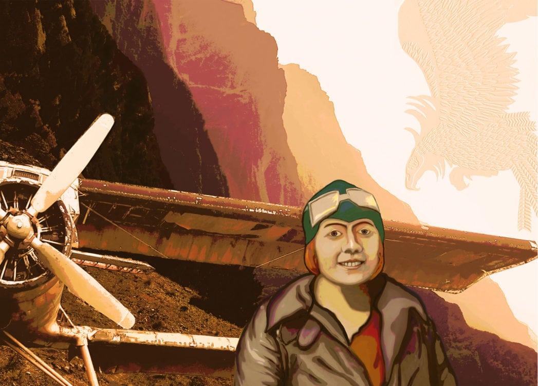 Thea Rasche und die Lust am Fliegen. Digitaldruck auf gebürstetem Aludibond. 70 x 100 cm