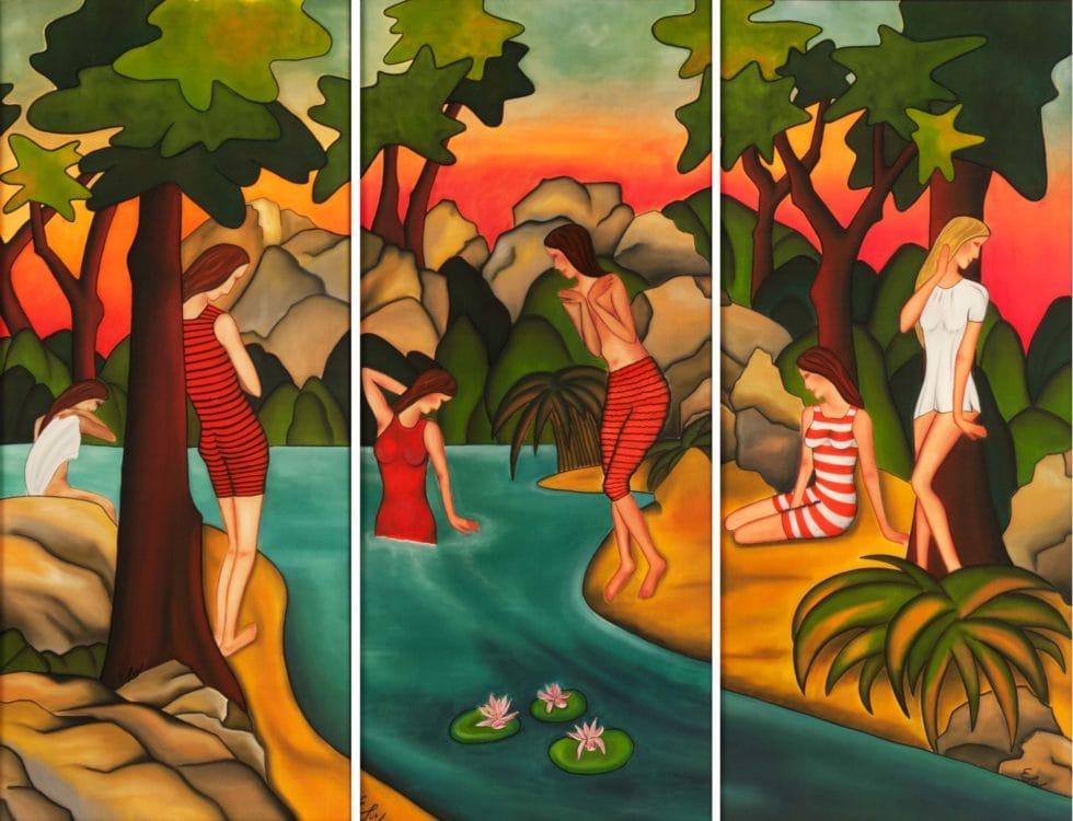 Bademoden-Werbung 1910. Seidenmalerei  einzeln gerahmt. Triptychon. Einzeln 52 x 107 cm