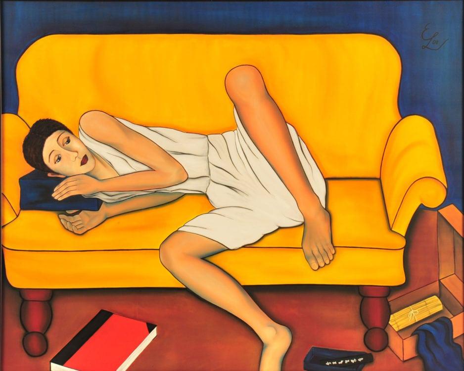Camille. Seidenmalerei gerahmt. 108 x 88 cm.