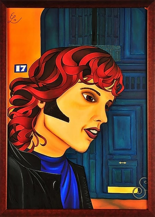 "Projekt #MonParis. Seidenmalerei. ""Jim Morrison - Musiker und Poet. 88 x 108 cm gerahmt."