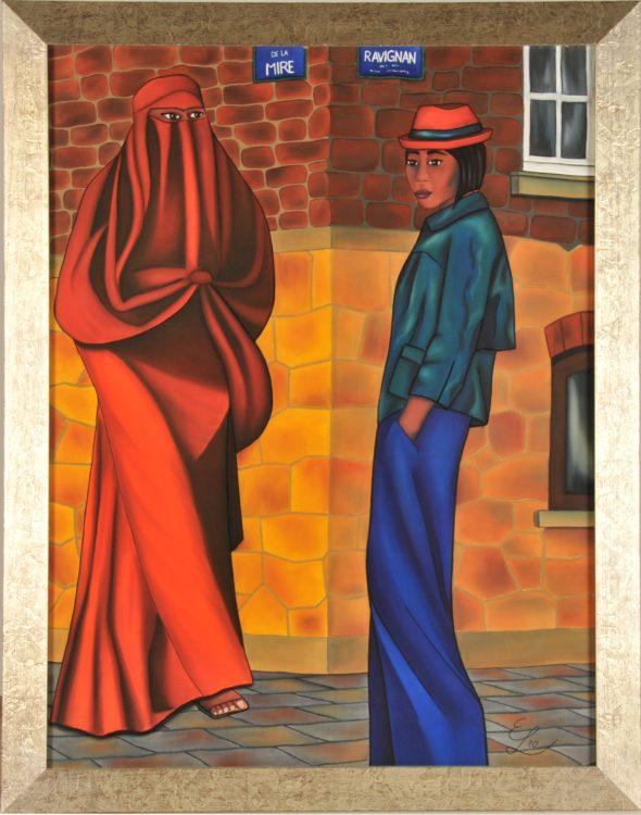 """Projekt #MonParis. Seidenmalerei. """"Natürlich ist sie meine Freundin"""". 92 x 112 cm gerahmt."""