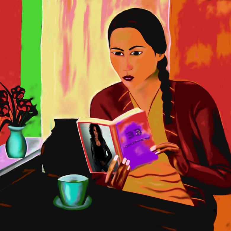 Die Autorin Manuela T.A. - Digitaldruck auf Aludibond gerahmt. 50 x 50 cm.